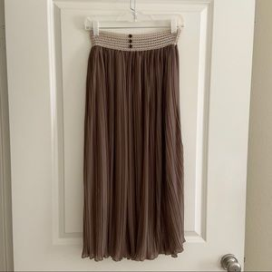 Double Zero Brown Pleated Accordion Lace Skirt S